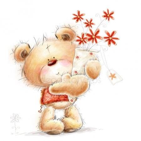 Красивые картинки медвежонок с цветами001