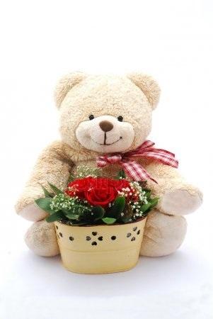 Красивые картинки медвежонок с цветами002