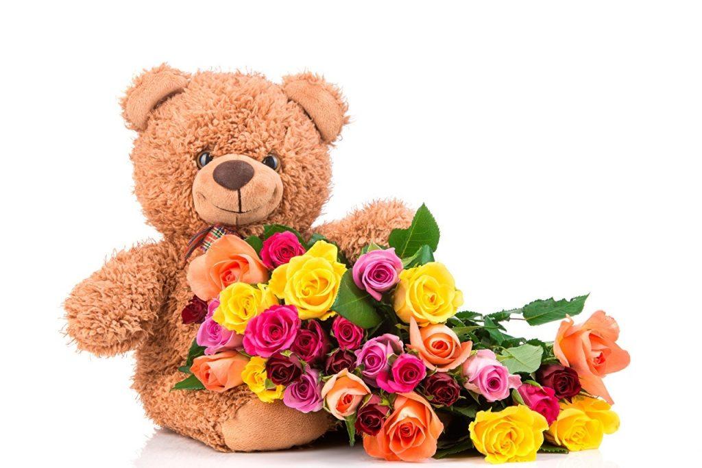 Красивые картинки медвежонок с цветами003