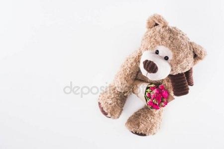 Красивые картинки медвежонок с цветами004