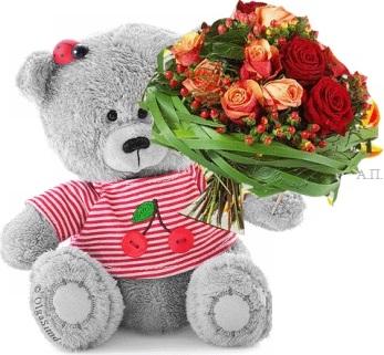 Красивые картинки медвежонок с цветами010