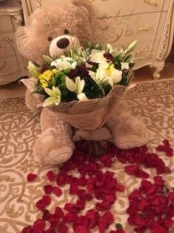 Красивые картинки медвежонок с цветами011