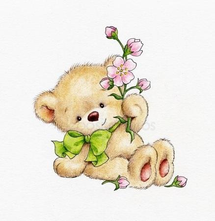 Красивые картинки медвежонок с цветами017