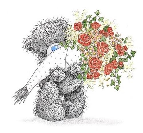 Красивые картинки медвежонок с цветами018