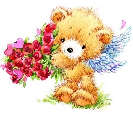 Красивые картинки медвежонок с цветами019