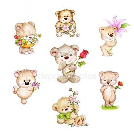 Красивые картинки медвежонок с цветами023