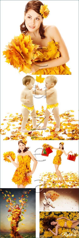 Красивые картинки осень девушка с листьями для детей (1)