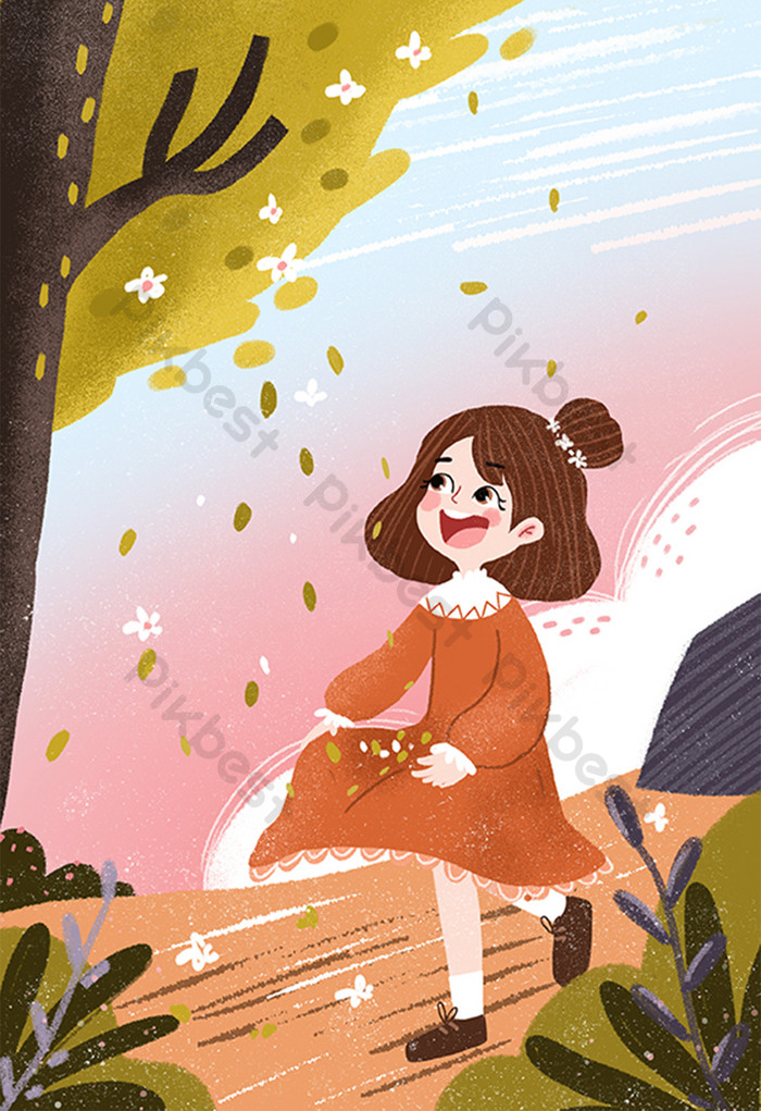 Красивые картинки осень девушка с листьями для детей (13)