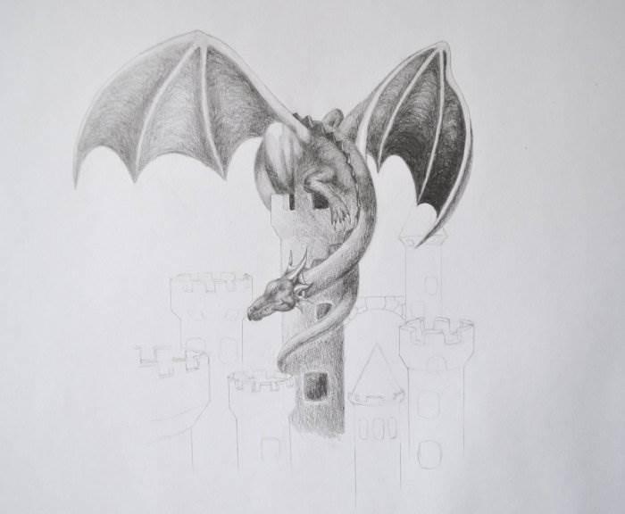 Красивые картины дракона карандашом (13)