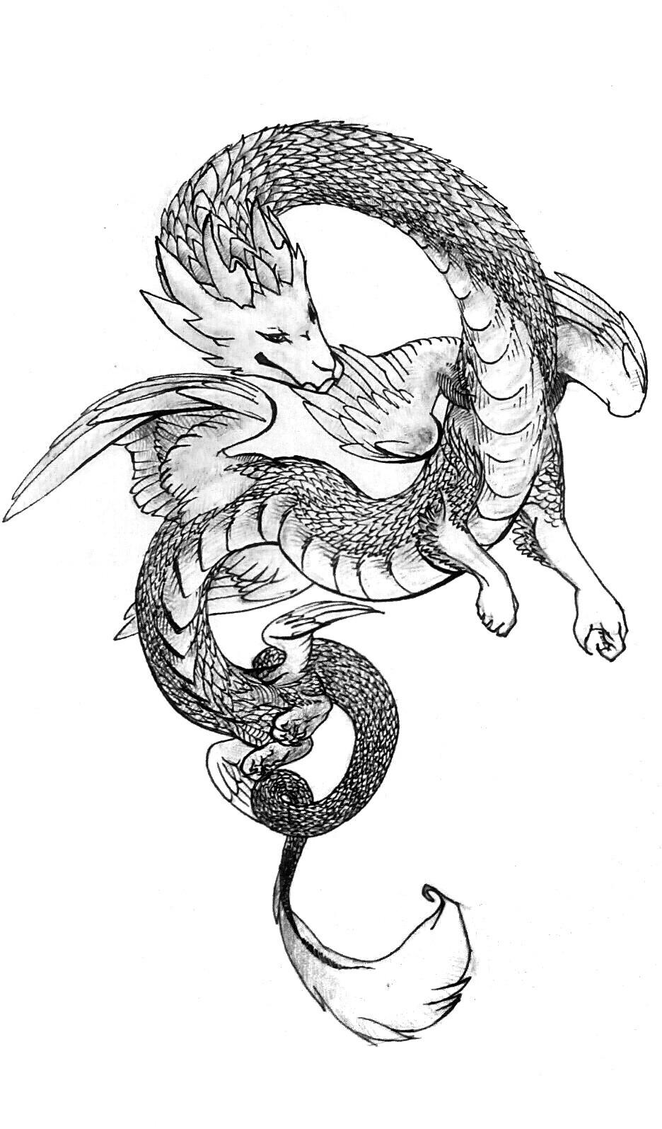 Красивые картины дракона карандашом (25)