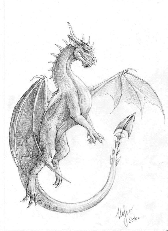 Красивые картины дракона карандашом (26)
