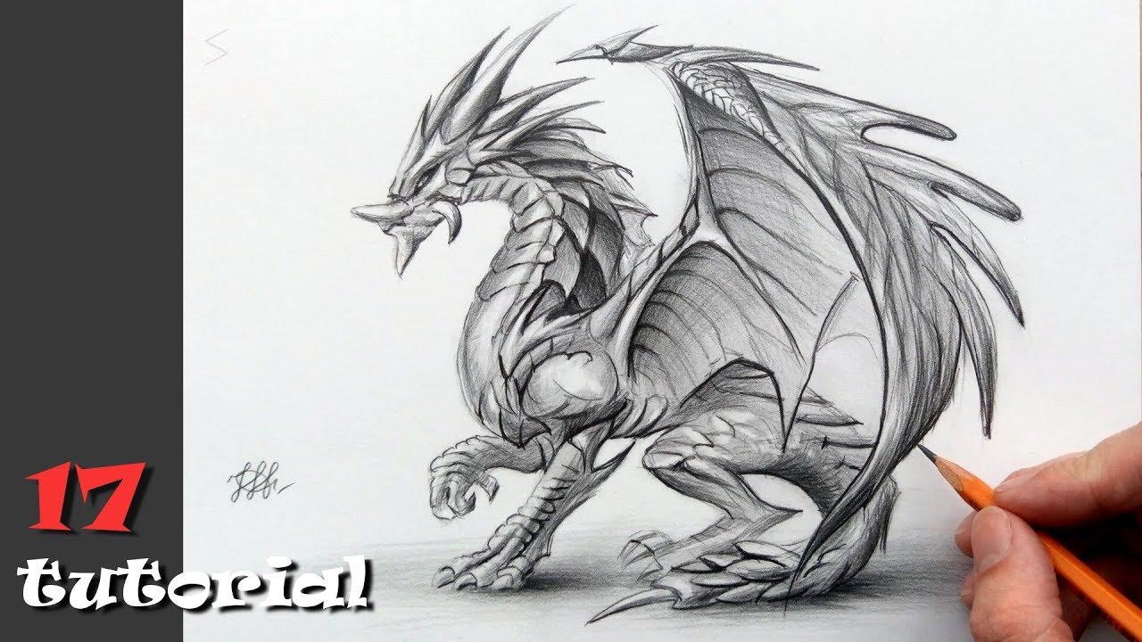 Красивые картины дракона карандашом (27)