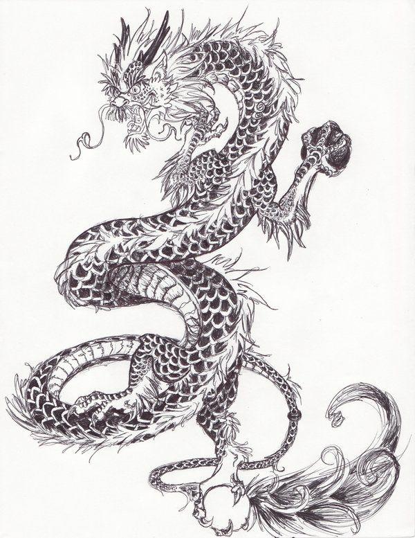 Красивые картины дракона карандашом (29)