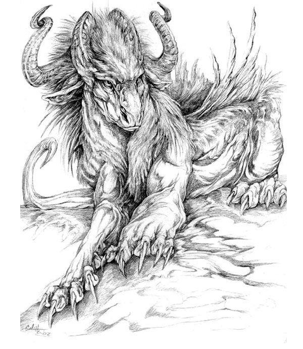 Красивые картины дракона карандашом (33)