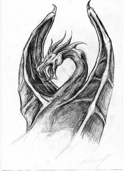 Красивые картины дракона карандашом (37)