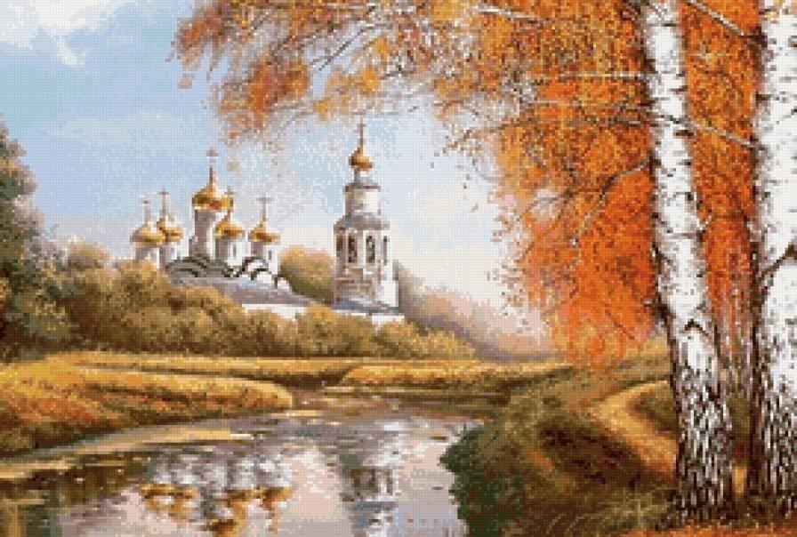Красивые картины церковь осенью005