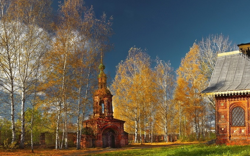 Красивые картины церковь осенью008