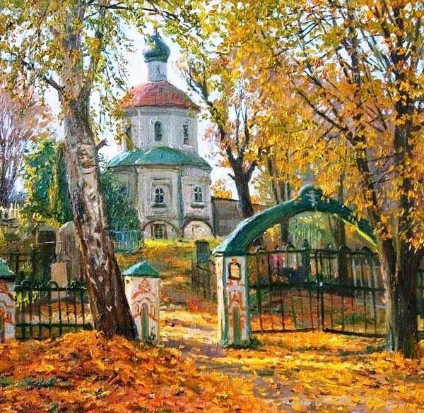 Красивые картины церковь осенью022