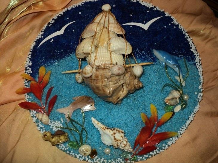Красивые поделки из ракушек на тему море013
