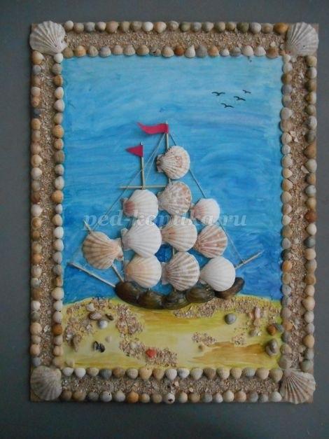 Красивые поделки из ракушек на тему море018
