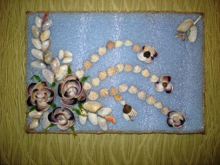 Красивые поделки из ракушек на тему море022