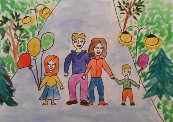 Красивые рисунки детей на тему моя семья 2 класс (1)
