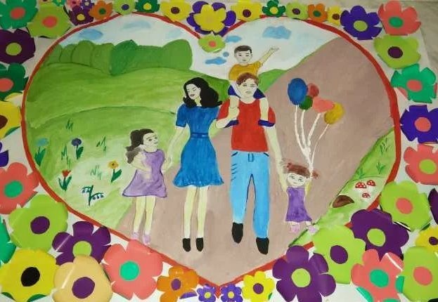 Красивые рисунки детей на тему моя семья 2 класс (11)
