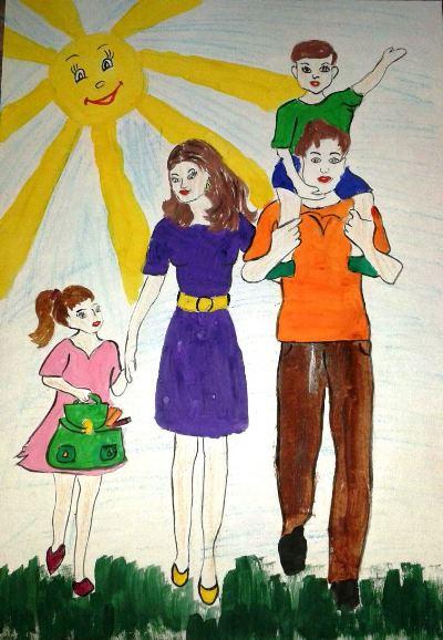 Красивые рисунки детей на тему моя семья 2 класс (12)