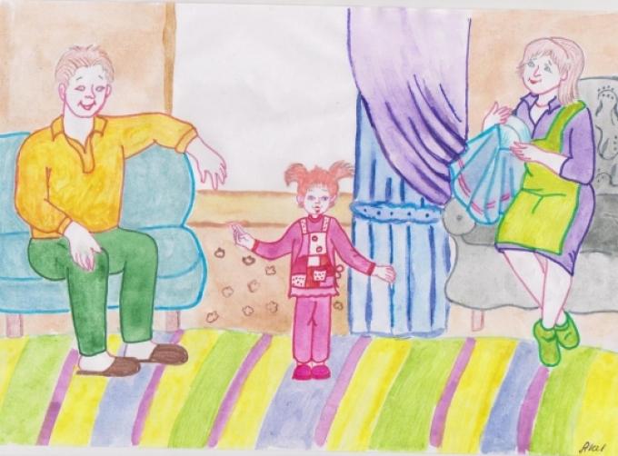 Красивые рисунки детей на тему моя семья 2 класс (23)