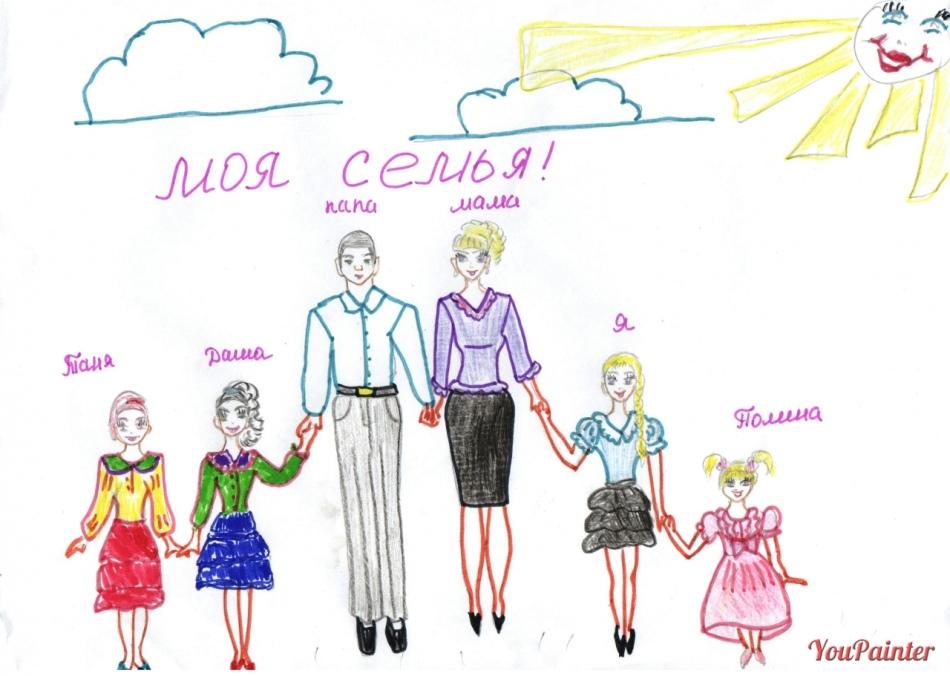 Красивые рисунки детей на тему моя семья 2 класс (28)