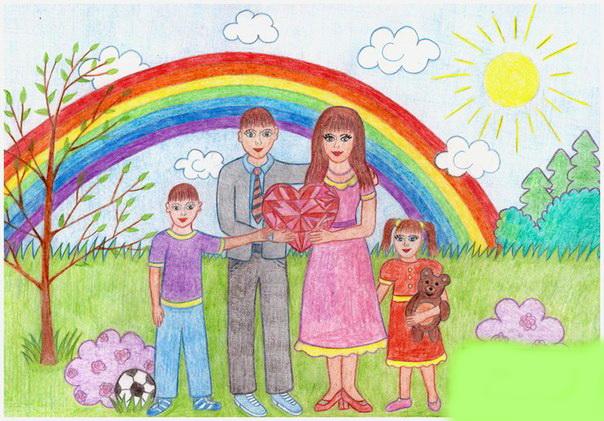 Красивые рисунки детей на тему моя семья 2 класс (4)