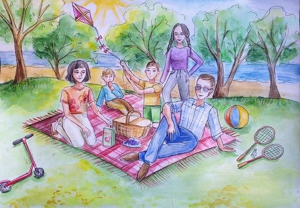 Красивые рисунки детей на тему моя семья 2 класс (6)