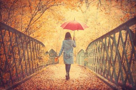 Красивые фото девушек осенью со спины с зонтом (1)