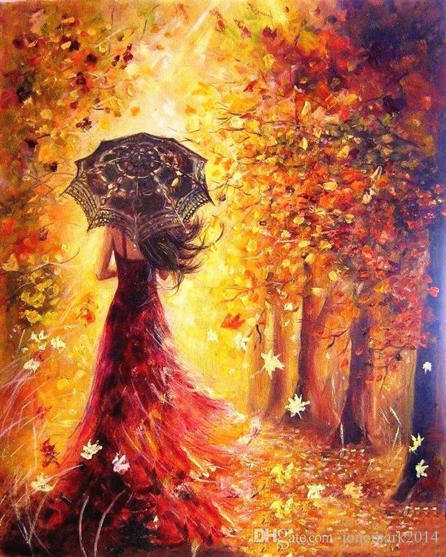 Красивые фото девушек осенью со спины с зонтом (13)
