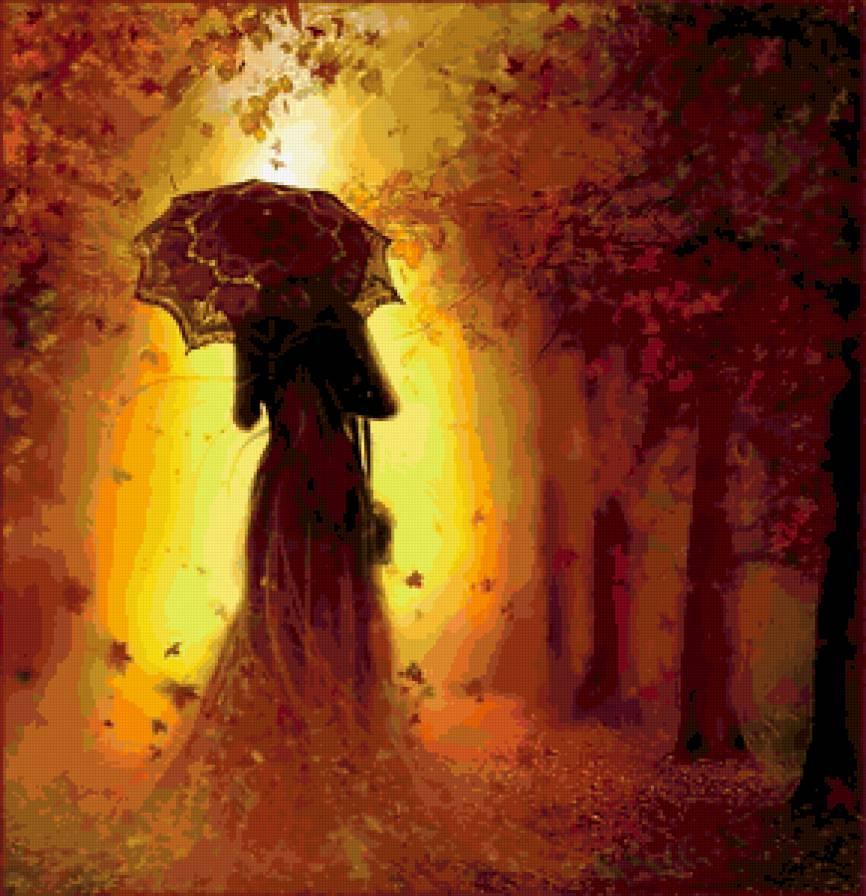 Красивые фото девушек осенью со спины с зонтом (17)