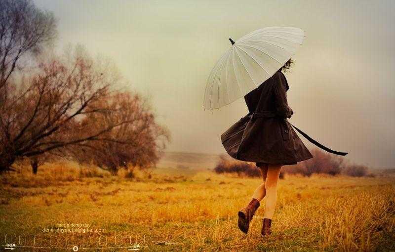 Красивые фото девушек осенью со спины с зонтом (3)