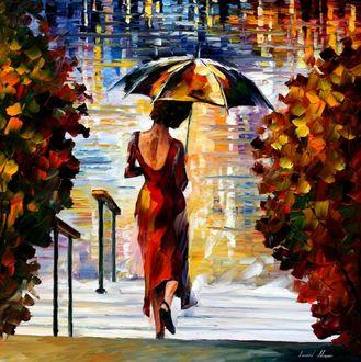 Красивые фото девушек осенью со спины с зонтом (4)