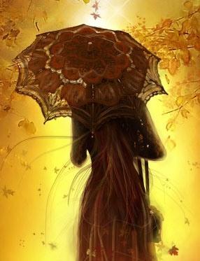 Красивые фото девушек осенью со спины с зонтом (7)