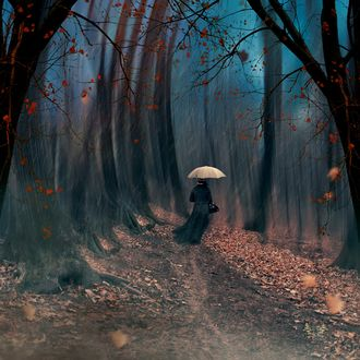 Красивые фото девушек осенью со спины с зонтом (8)