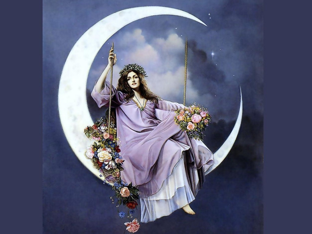 Красивые фото девушка на фоне луны009