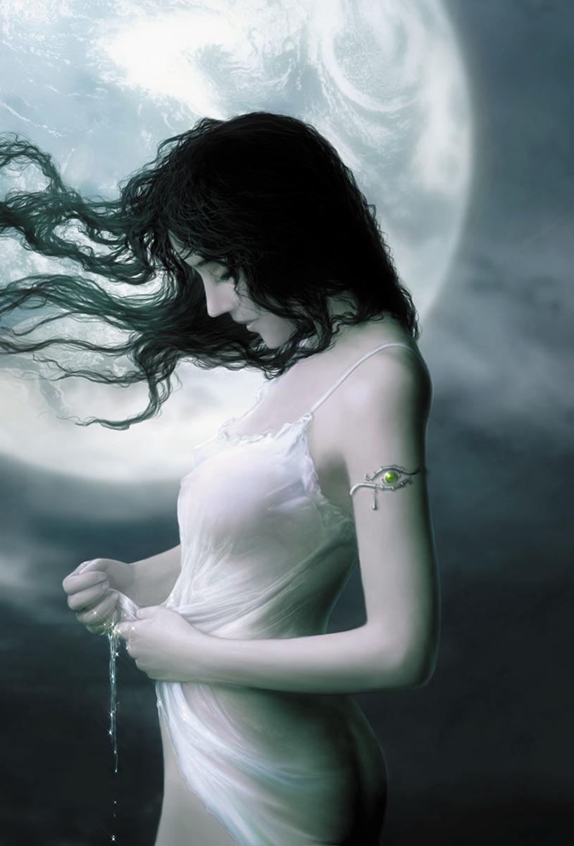Красивые фото девушка на фоне луны013
