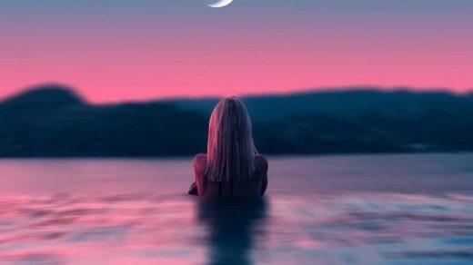 Красивые фото девушка на фоне луны019