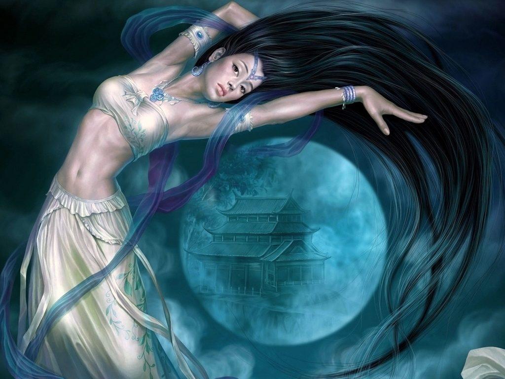 Красивые фото девушка на фоне луны020