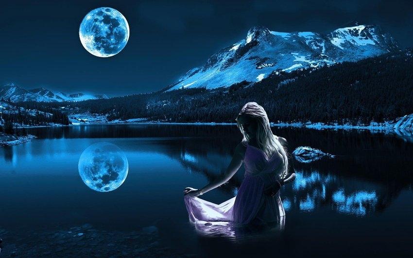 Красивые фото девушка на фоне луны021