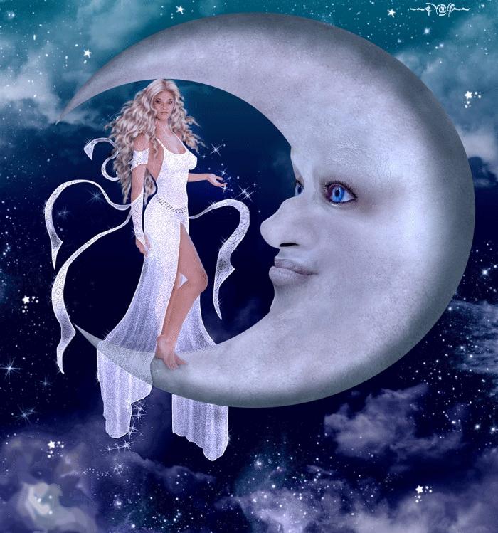 Красивые фото девушка на фоне луны022