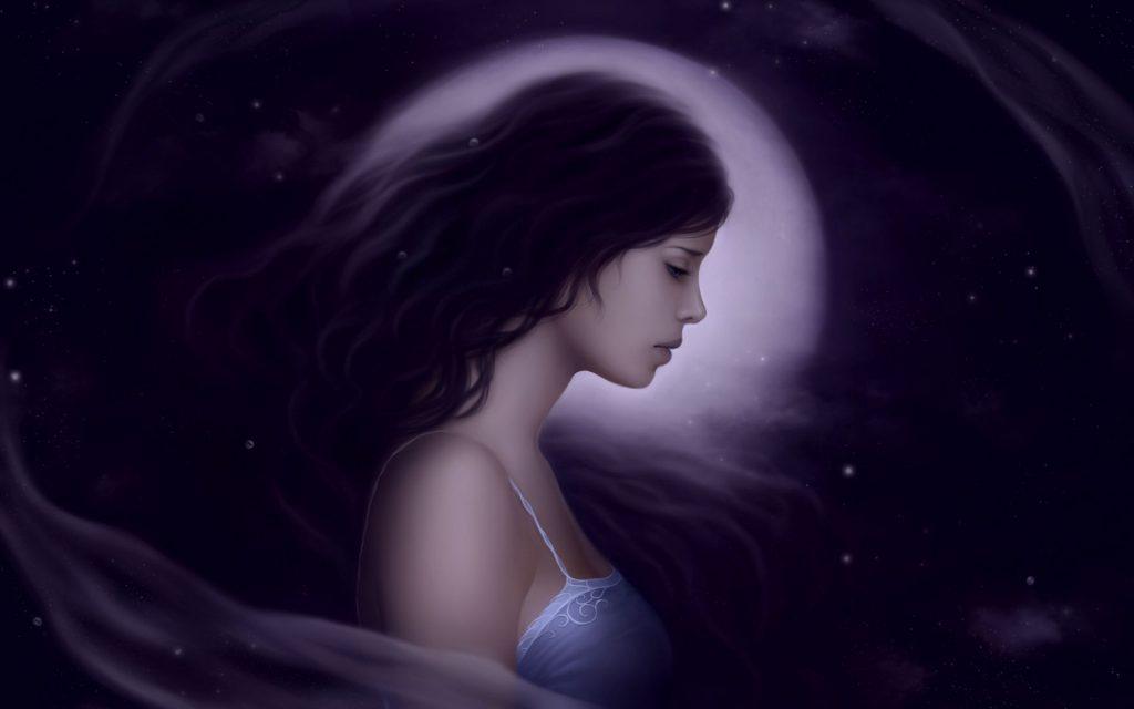 Красивые фото девушка на фоне луны024