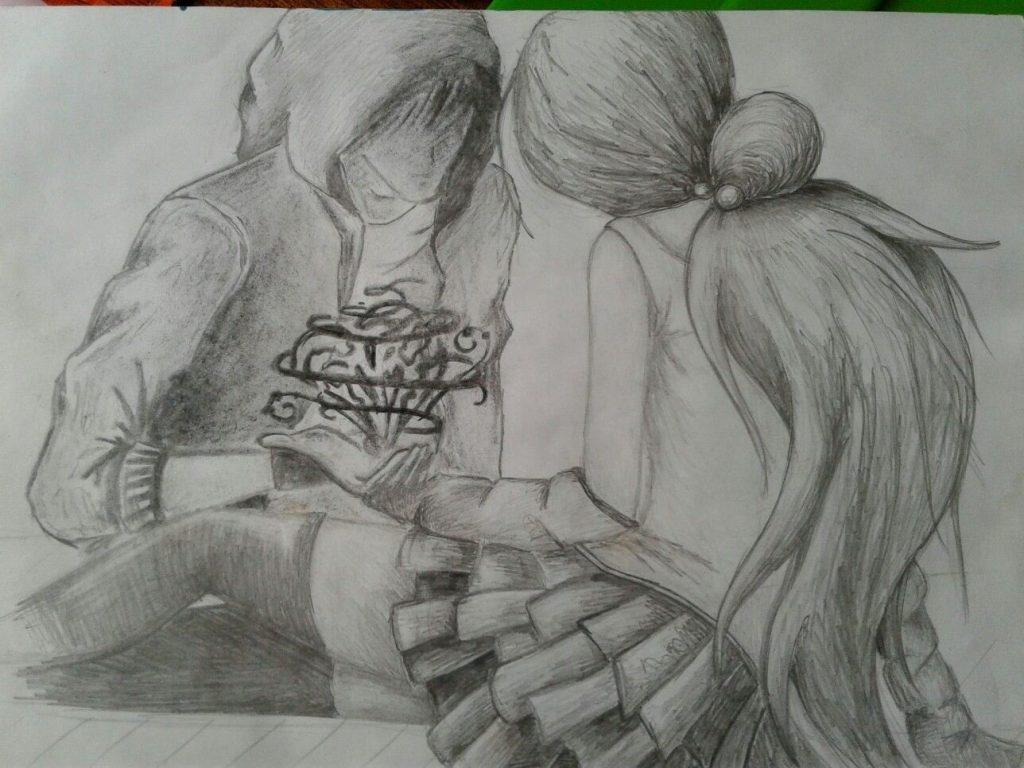 Красивые фото парень и девушка рисунок карандашом001