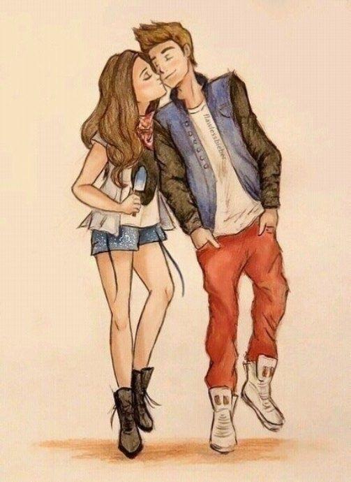 Красивые фото парень и девушка рисунок карандашом020
