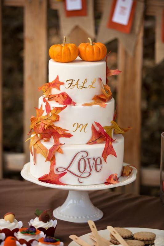 Красивые фото свадебного торта в осеннем стиле (11)
