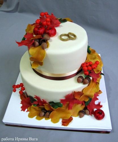 Красивые фото свадебного торта в осеннем стиле (18)